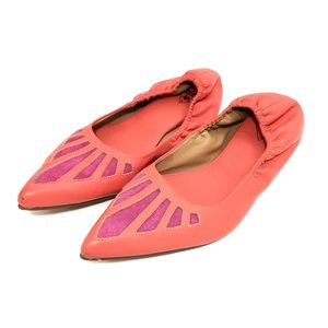 John Fluevog Red & Pink Leather Pointed Toe Flats